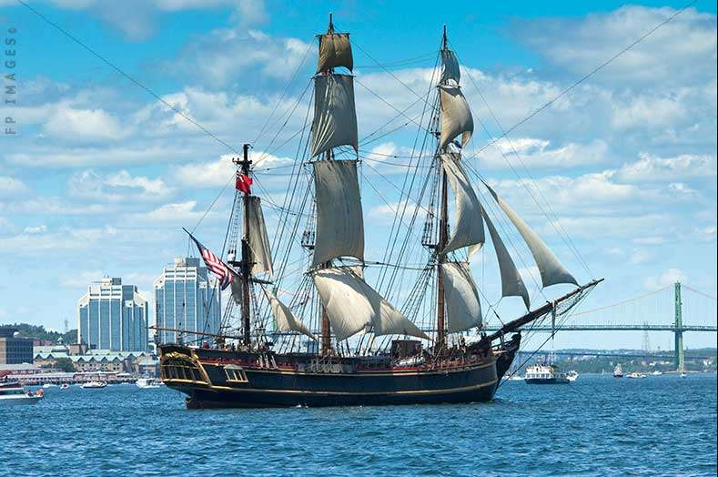 HMS Bounty II old wooden tall ship replica at the parade