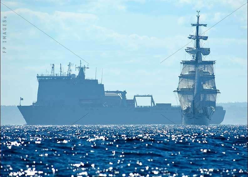 RFA Largs Bay steaming large navy ship