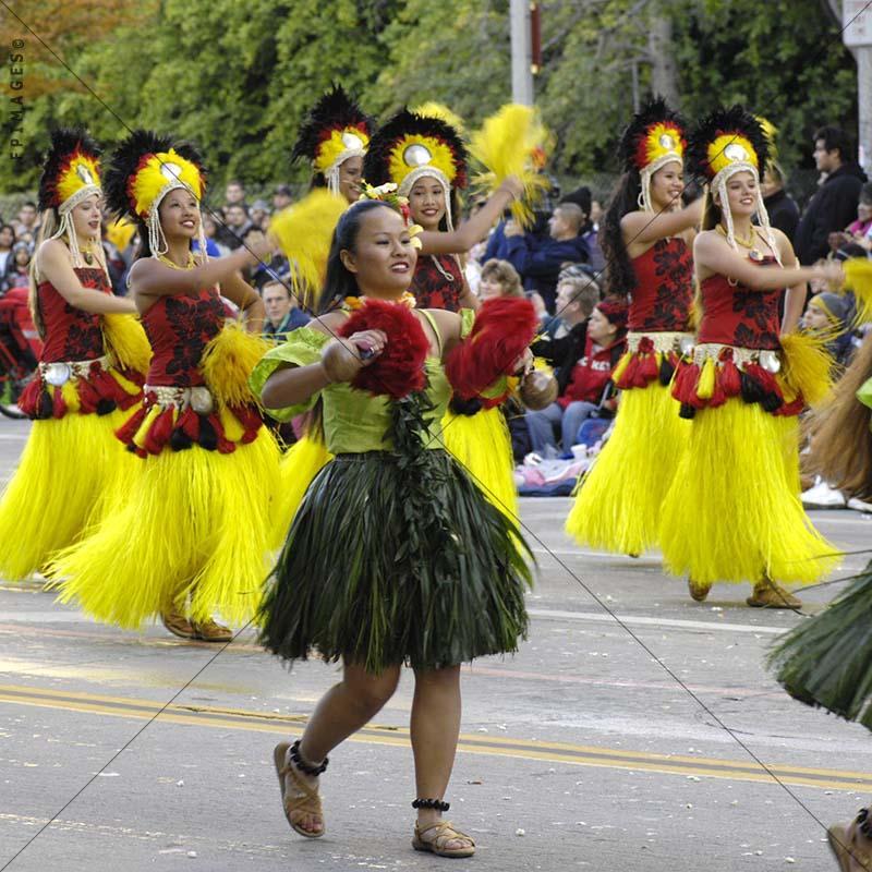 Marching ladies in hawaiian hula pau skirts