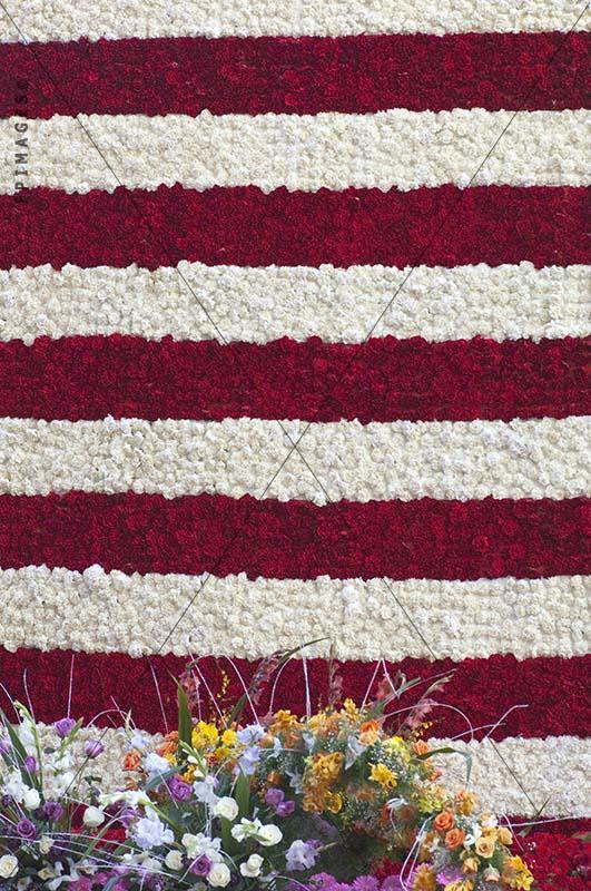 USA flag made with fresh flowers, rose parade
