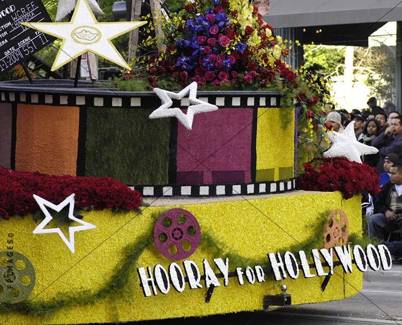 Hollywood sponsored flower float at Rose Parade, Pasadena, California