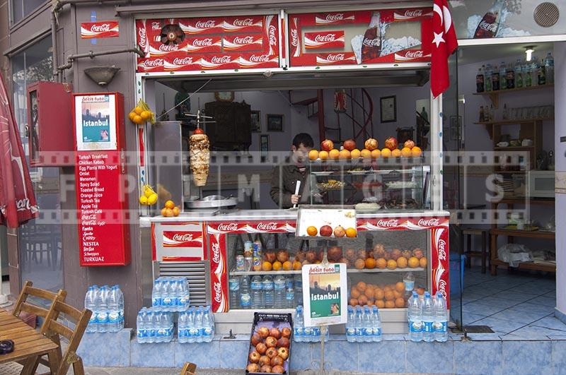 istanbul cafe serving fresh orange juice, kebab, rice