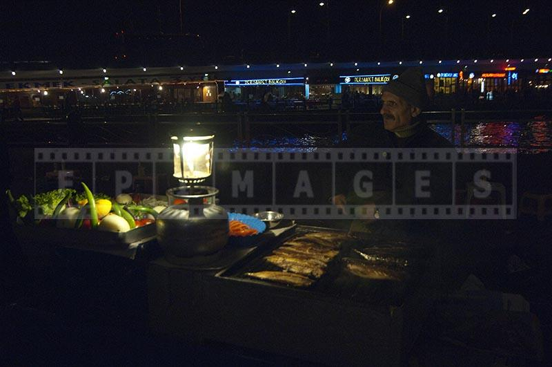 Street vendor of grilled fish mackrel, Istanbul, Turkey