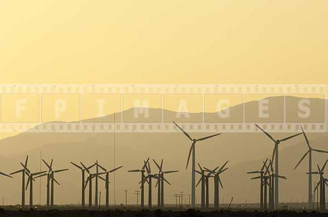 Wind Turbines at Sunset in the Mountains