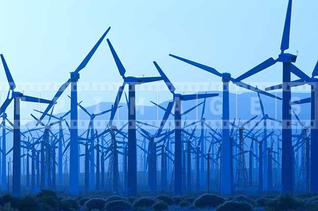 Wind Farm Abstract Industrial Image, Blue tones