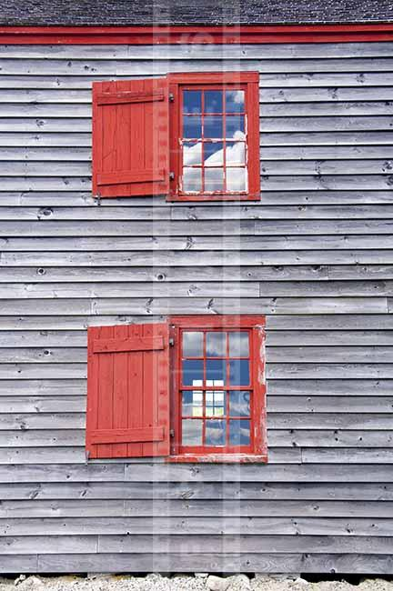 "Two red windows with shutters, ""six over six"" - 18-th century style"