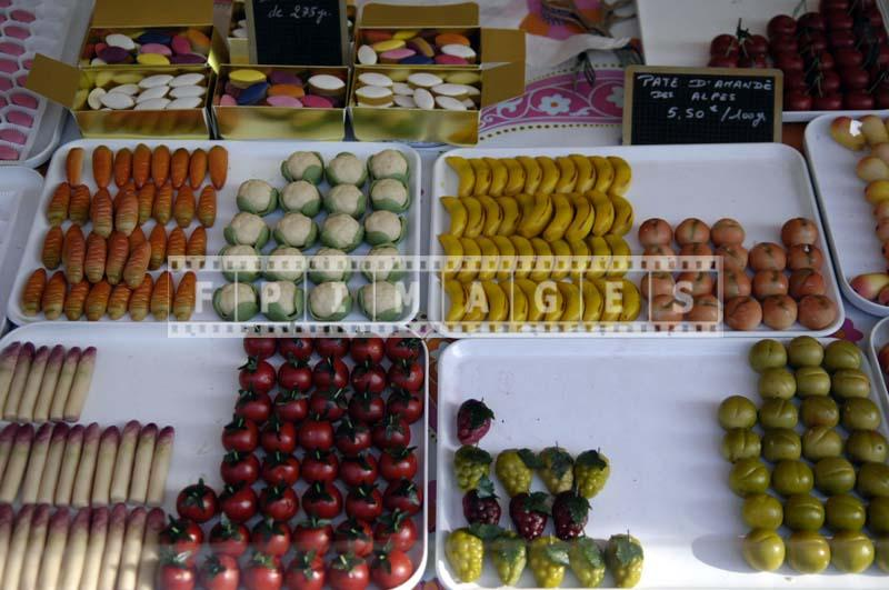 Imitation tomatoes, grapes, apples, cabbage, carrots made from marzipan