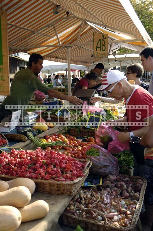 Farmer selling vegetable at Cours Saleya Market