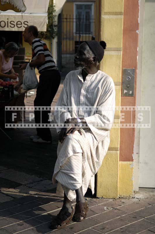 African French elderly man in traditional clothes, Nice France