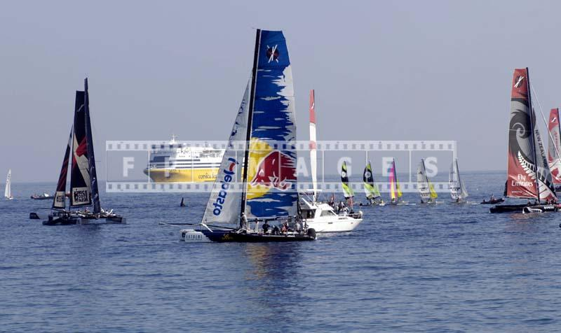 Red Bull catamaran during race on french riviera