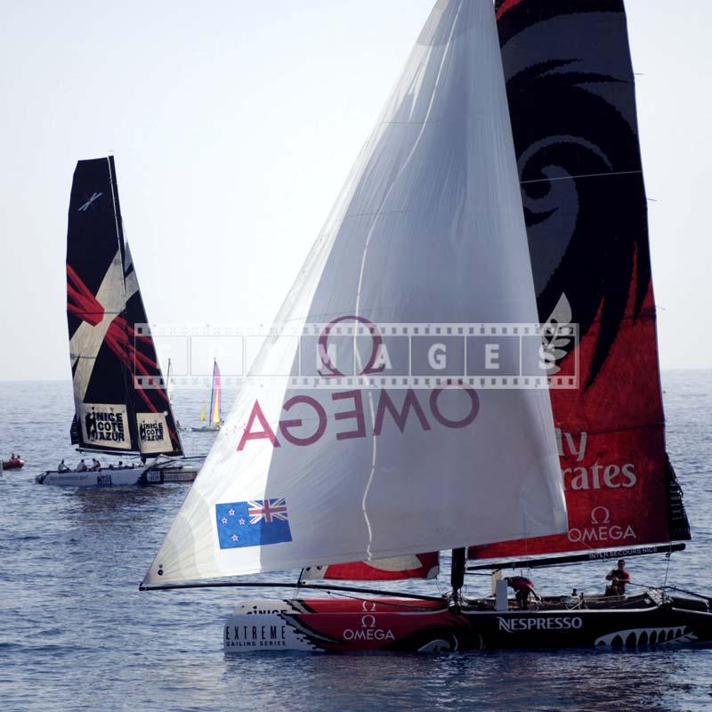 Team Extreme - the first club and Team New Zealand multihull boats during Act 7