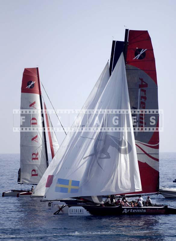 Racing in light winds near Nice waterfront