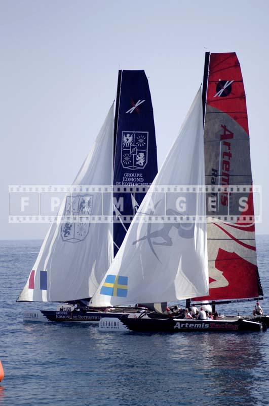 Two yachts racing, photo from the Nice beach