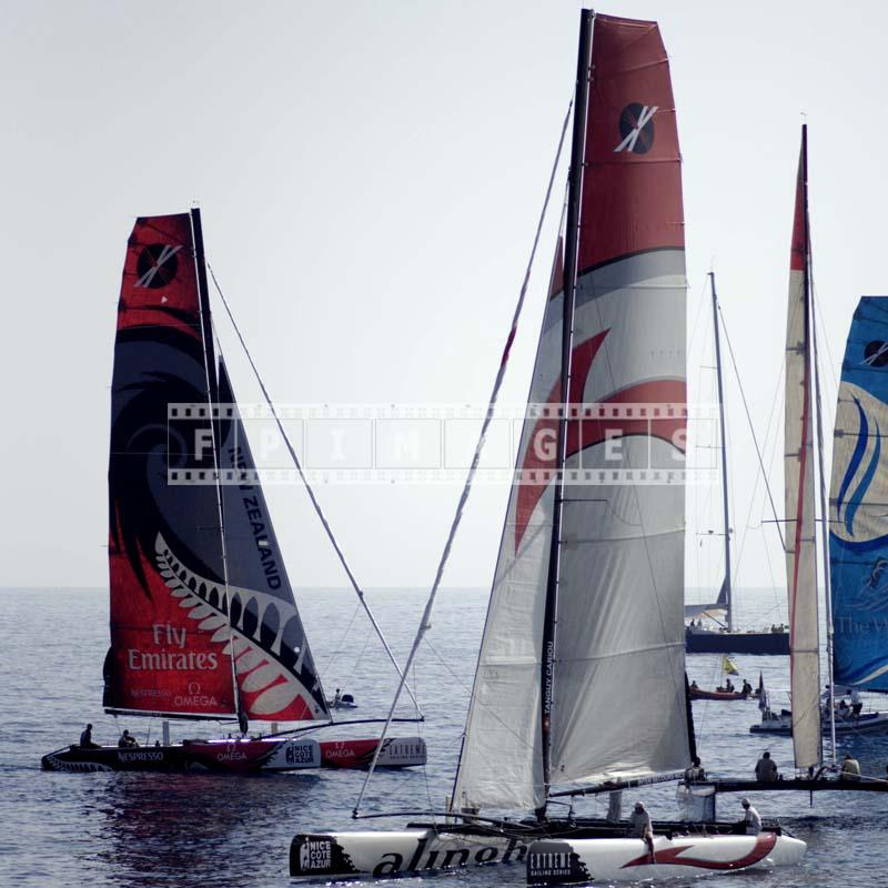 extreme sailing series catamarans, colorful sailing photos