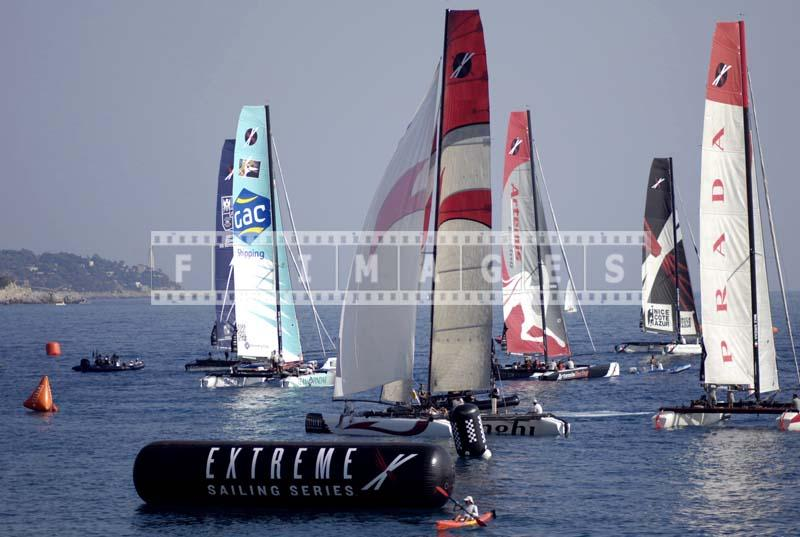 Yachts race in Nice, Cap Ferrat can be seen on the left
