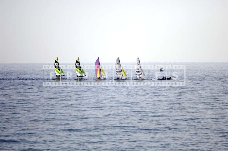 sailing boats on the way to the race