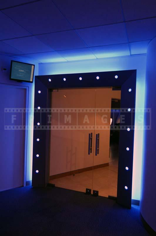 IBM blue LED colored entrance