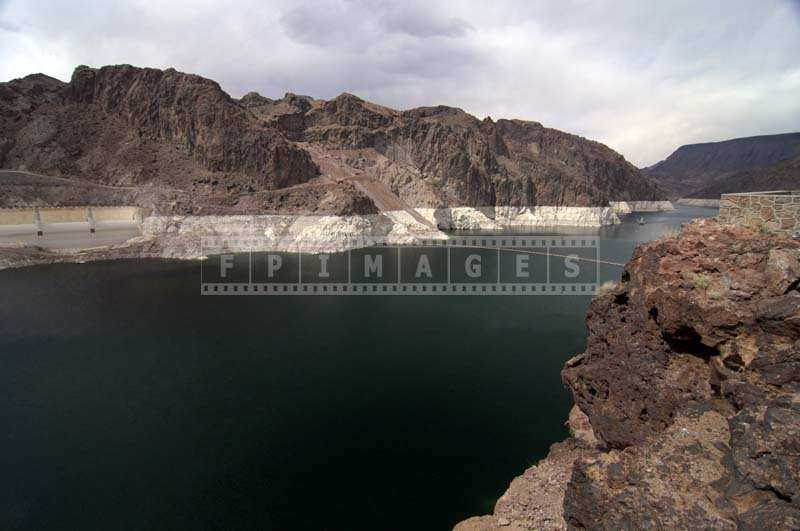 Water Reservoir at Hoover Dam, water level marked on the rocks