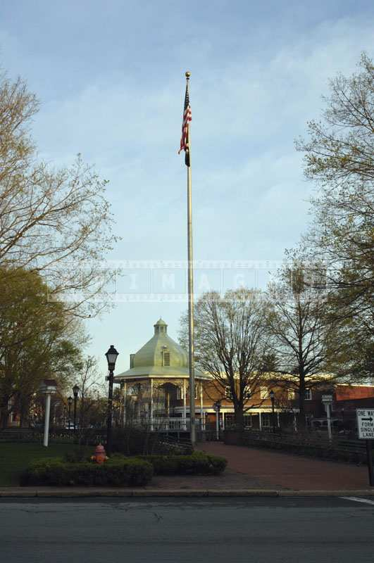 A street picture of a flag pole in Ligonier