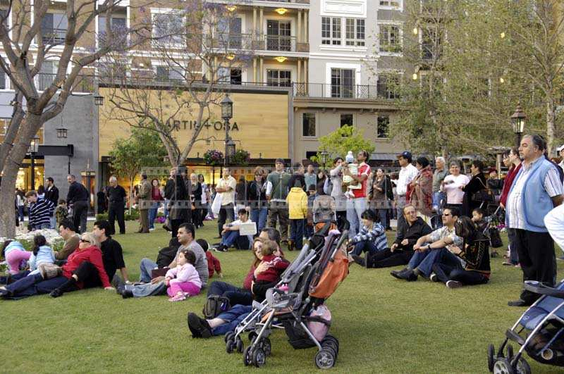 People Relaxing in the Park at the Americana