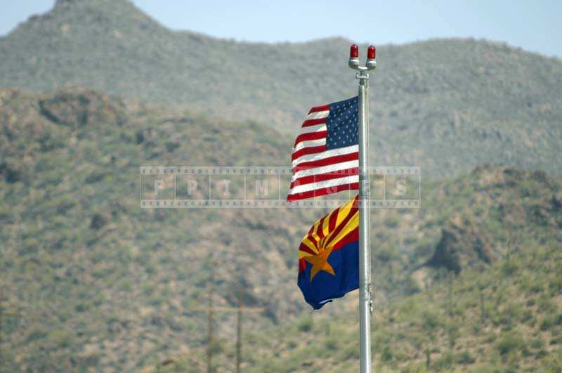 Arizona Flag, Mountains as Background
