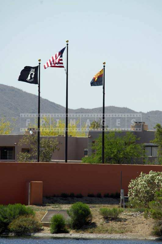 The US Flag Proudly Waving under the Arizona Sky
