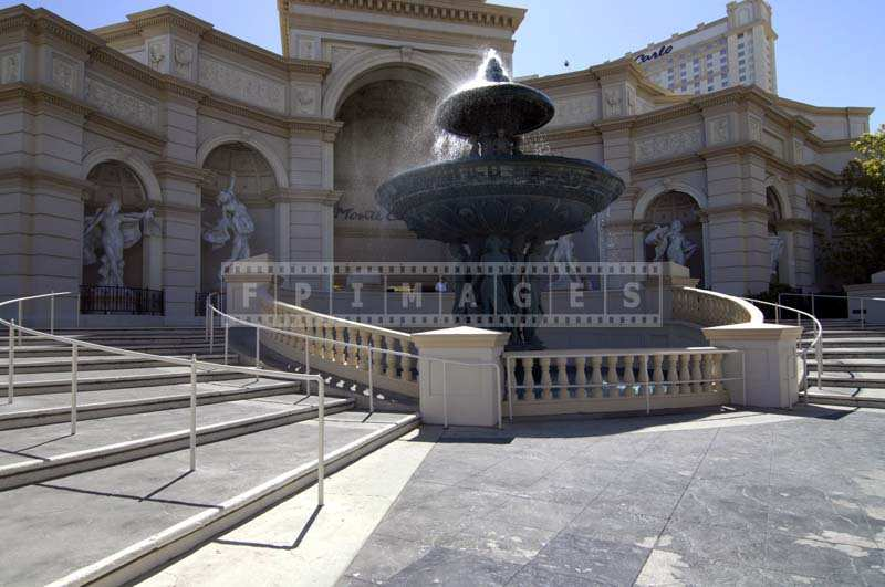 Fountain at Monte Carlo cityscape