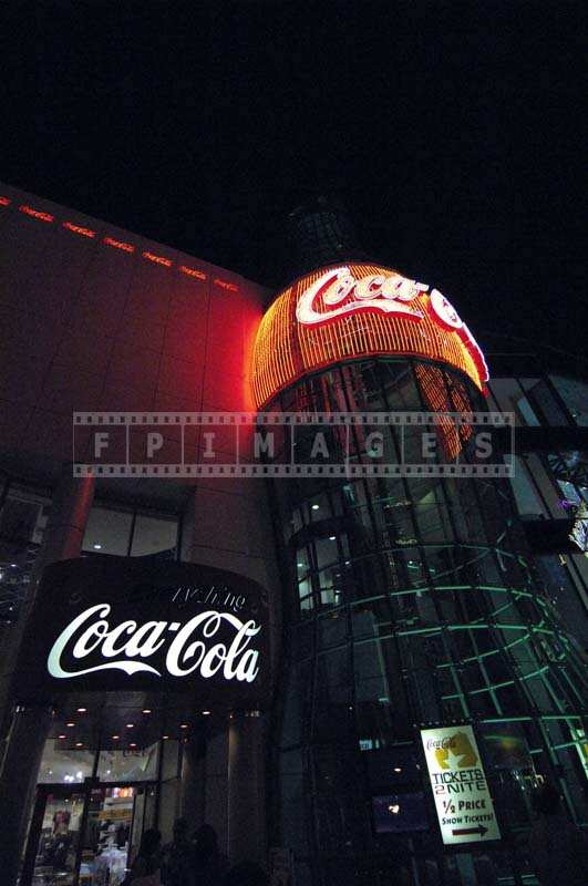 Giant Coke Bottle with Red Neon Lights