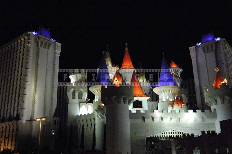 Colorful Lights Excalibur Towers at night