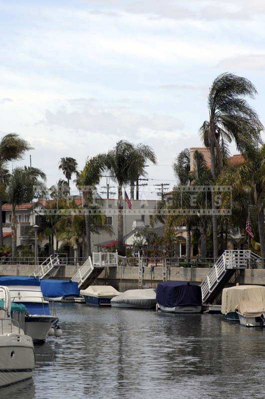 Upscale residential area along Naples Island Canal