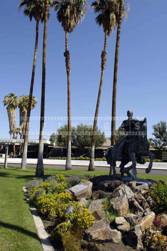 A horse rider Statue in Front of the Palm Springs City Hall