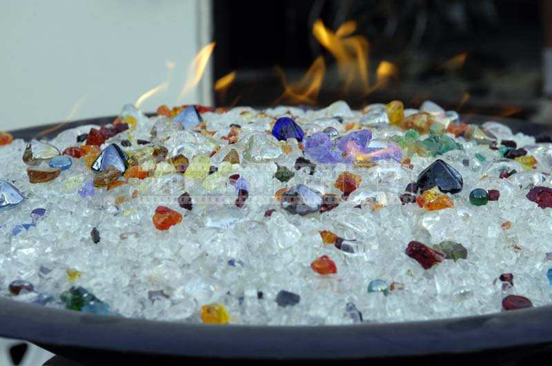 Brilliant Transparent and Colored Stones of the gas fireplcae