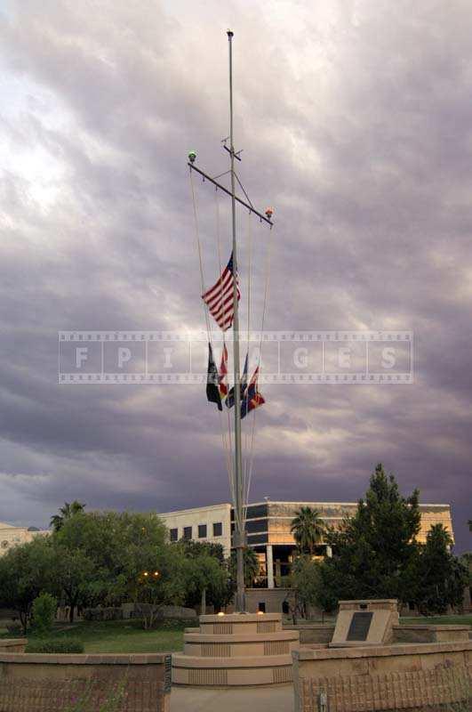 USS Arizona mast with the US Flag, Wesley Bolin Park
