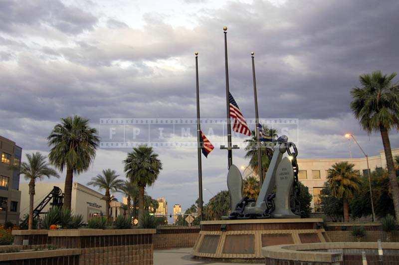 US Flag flying half mast at the Wesley Bolin Park