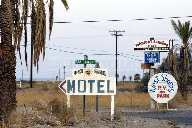 Salton City signs to motel and RV park