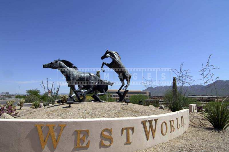 West World entrance Horses statue