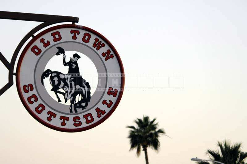 The Red and White Round Sign of Old Town, Scottsdale