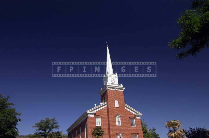 Bell and clock tower, spire of the St George Tabernacle, Utah