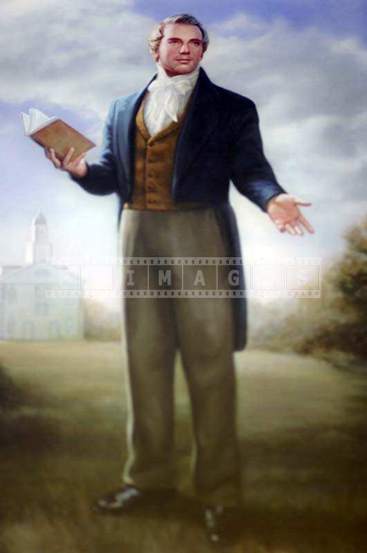 Brigham Young Painting in the Temple with LDS scripture