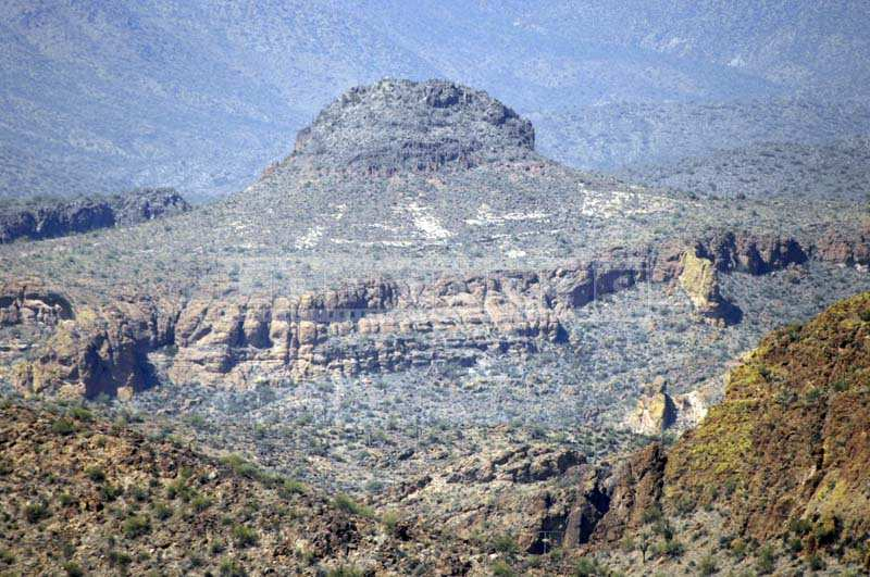 Mountains weathered by erosion in desert climate
