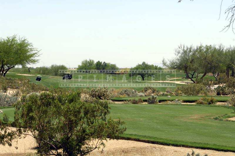 Golf carts in the fairway and desert landscape