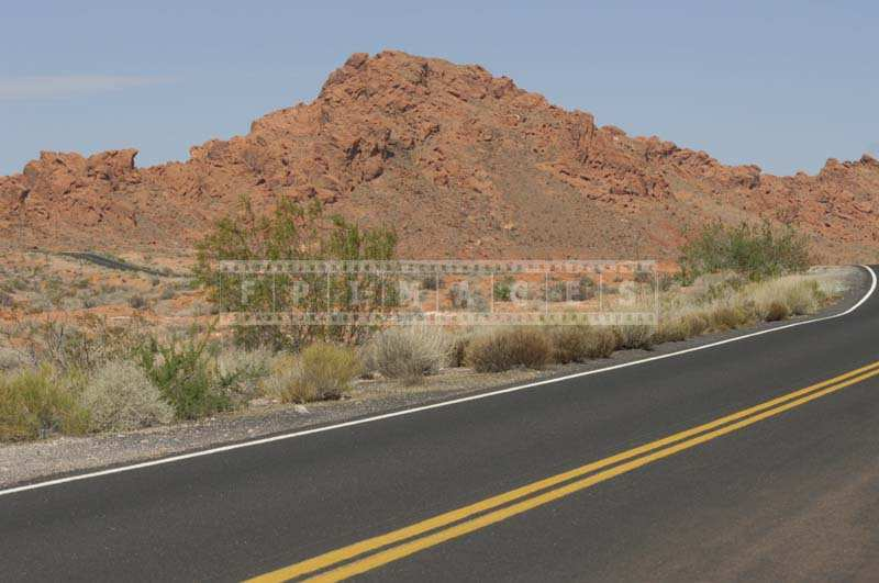 Road Accorss the Picturesque Valley of Fire mountains