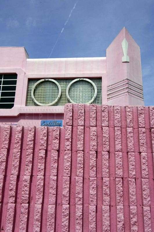 Cadillac building and pink wall