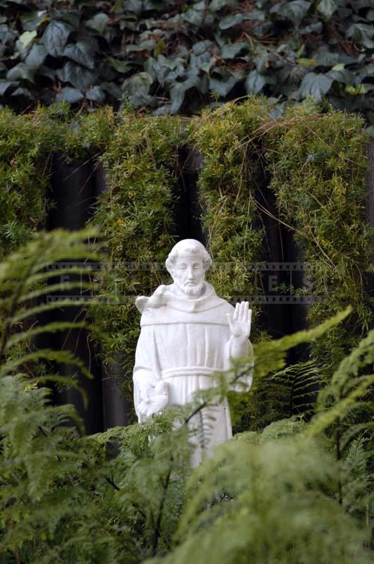 Monk Statue in the Lake Shrine Garden