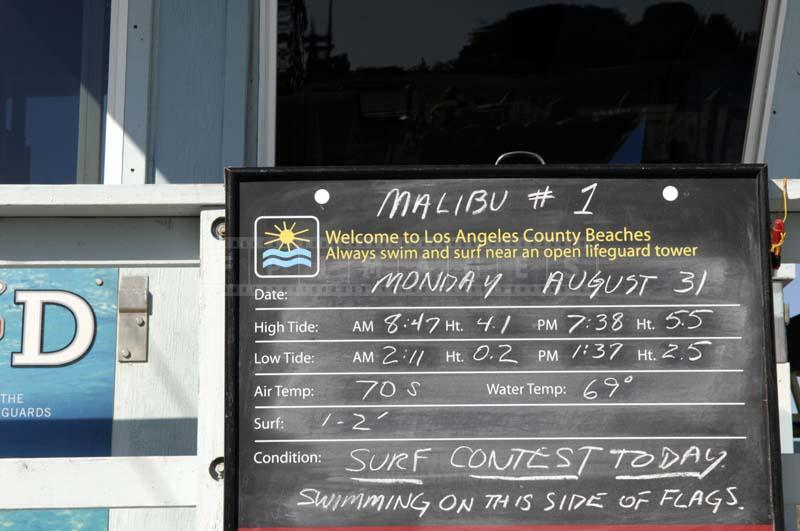 info board lifeguard station showing current conditions at Malibu beach