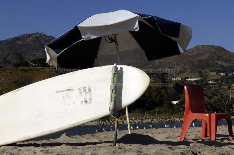 Lifeguards station under umbrella