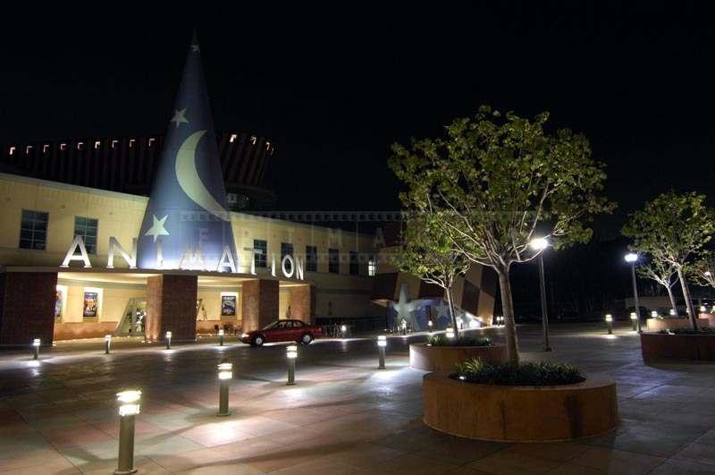 Night image of animation studio