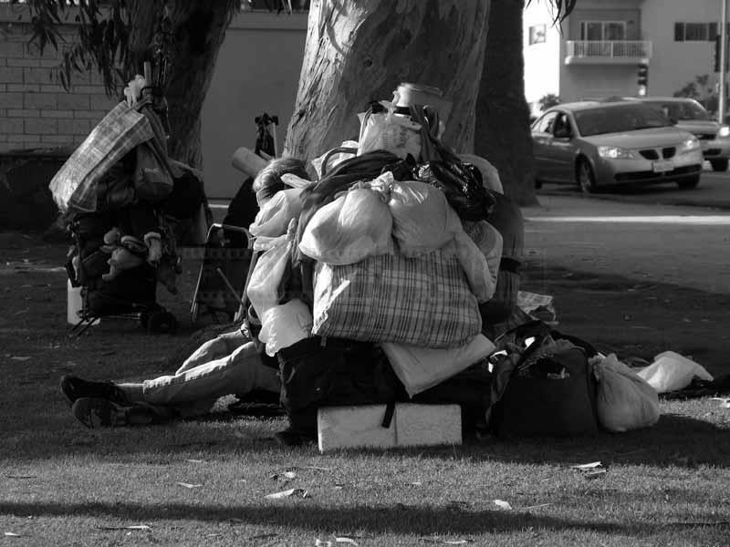 Plastic bags keep belonings of a homeless