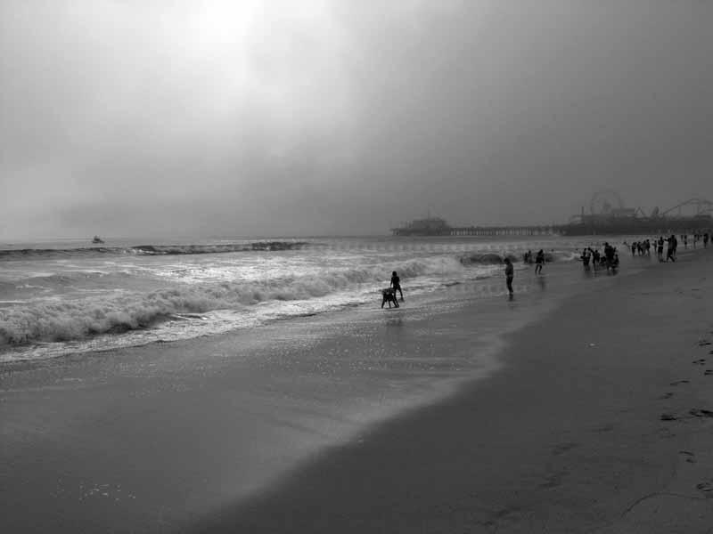 People on a beach, overcast day