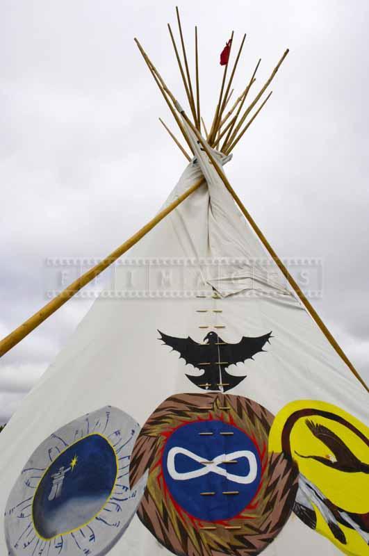 Wigwam with native symbols